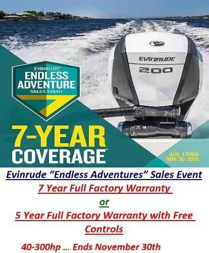 2018 Evinrude G1 and G2 Models      7 Year Full Factory Warranty