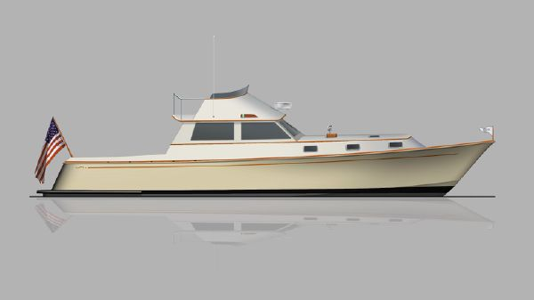 Brooklin Boat Yard 45' Flybridge Cruiser Eggemoggin 45' Profile Rendering 1