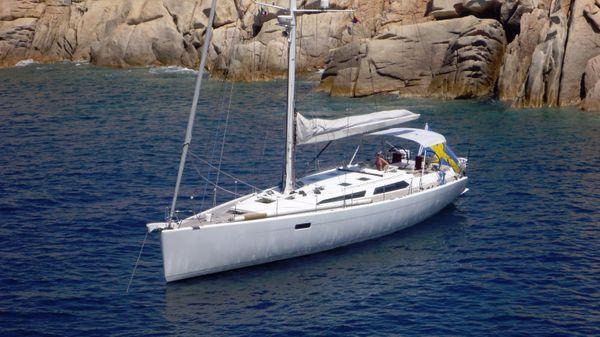 Baltic 56 lifting keel At anchor