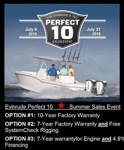 2018 Evinrude E-tec G1 & G2 10Yr  Warranty or 7 Year Warranty and