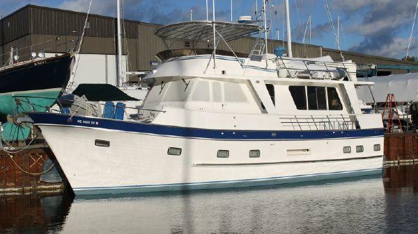 DeFever Classic 50 Offshore Cruiser Port Side At Dock