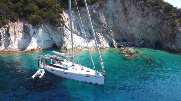 Beneteau Sense 50 On anchor somewhere in Greece