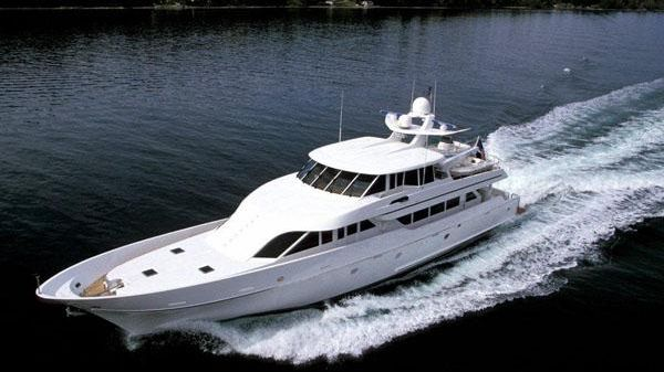Nordlund Custom Tri-Deck Motor Yacht Underway Port Forward Quarter
