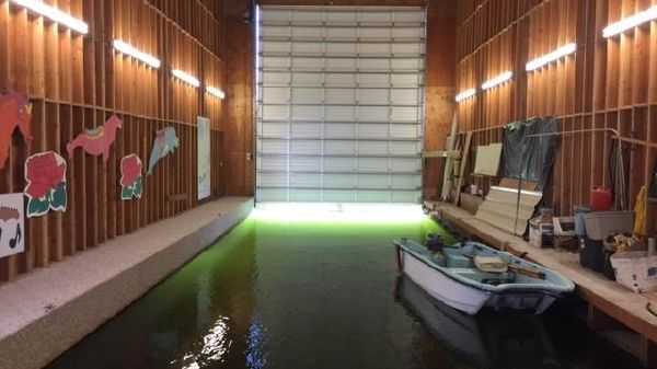 Custom Boathouse Looking Into Boat Well