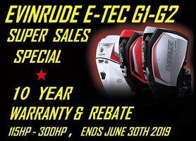 Evinrude  E-TEC G1 & G2 115HP-300HP .. 10 Year Warranty & Rebate