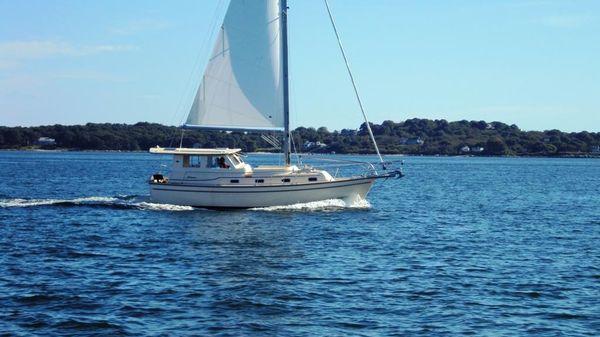 Island Packet SP Cruiser Under Sail off Fishers Island