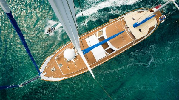 Custom Gulet Cihan Marin Izmir QUEEN SOUTH III Aerial view