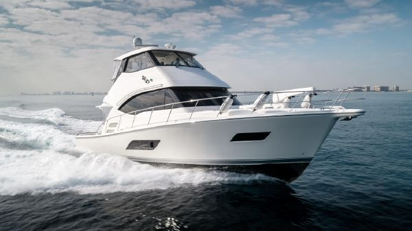 Riviera 50 Enclosed Bridge Profile Starboard Bow