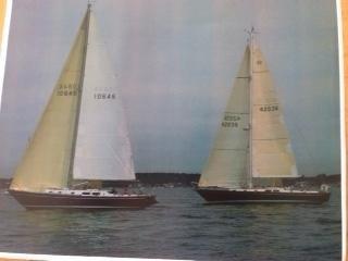 Morgan 42 Sloop Under Sail with Another Morgan