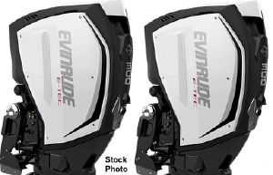 Evinrude E-TEC G2 300hp 25 inch Shaft  Direct Injected 2-Stroke Demo Outboard Motors Counter Rotating Pair w/ Factory Warranty Until 2/27/2028